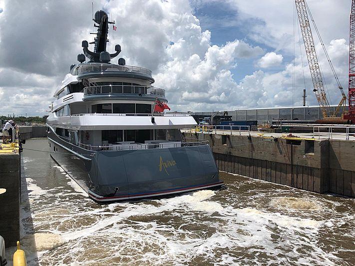 Aviva yacht at shipyard