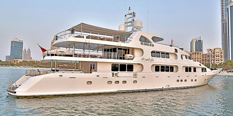Moonlight yacht cruising