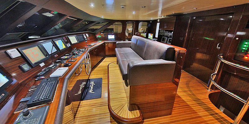 Moonlight yacht wheelhouse