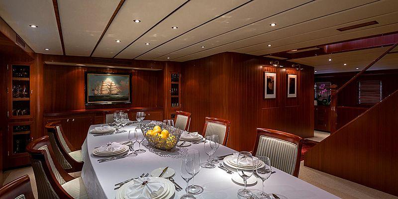 Northern Sun yacht dining table