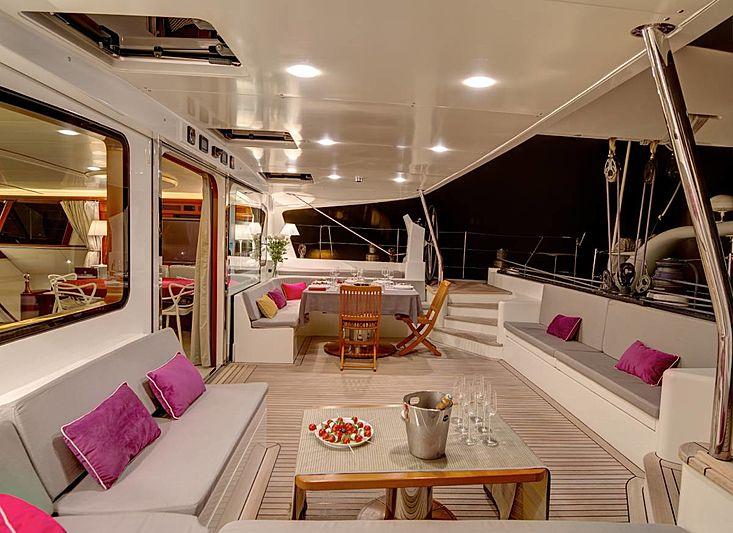Azizam yacht aft deck