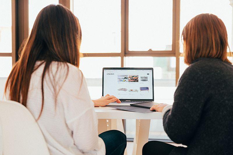 Women using computer