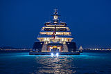 Tis yacht anchored at night