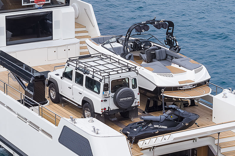 Wally Shadow yacht aft deck with her toys