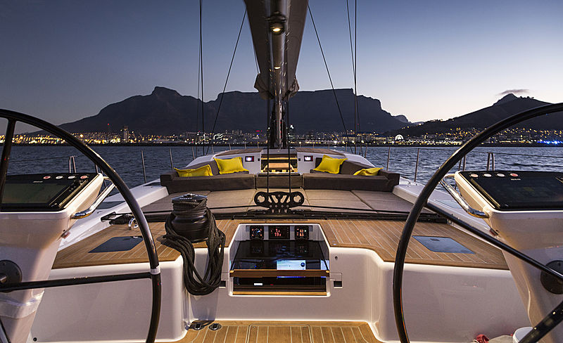 Ammonite yacht deck at night
