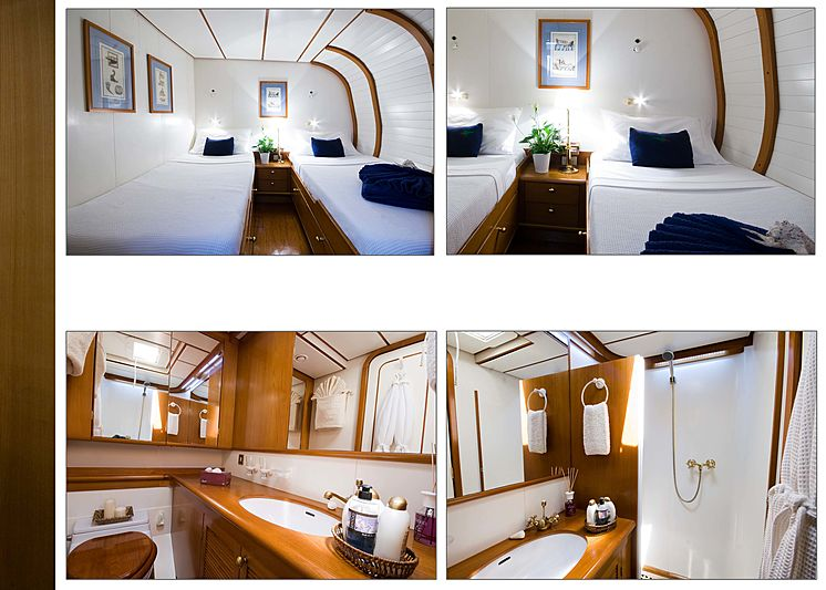 Baiurdo VI yacht twin cabin and bathroom