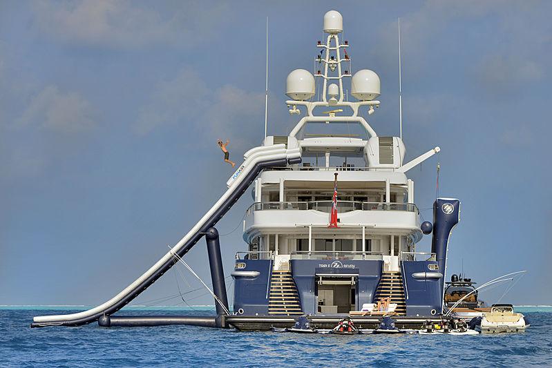 Triple Seven yacht with waterslide