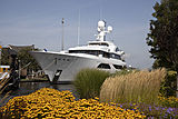 W yacht arriving at Feadship Aalsmeer shipyard