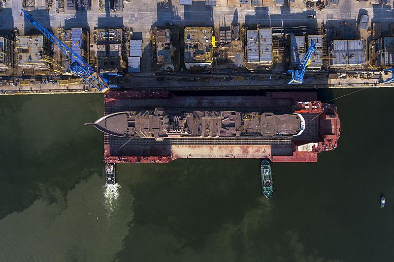 REV yacht at shipyard