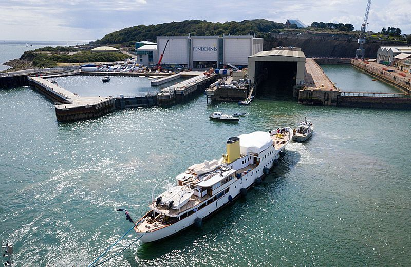Marala yacht arriving at Pendennis for 2019 refit