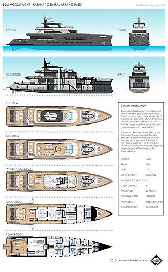 Katana yacht concept GA plan