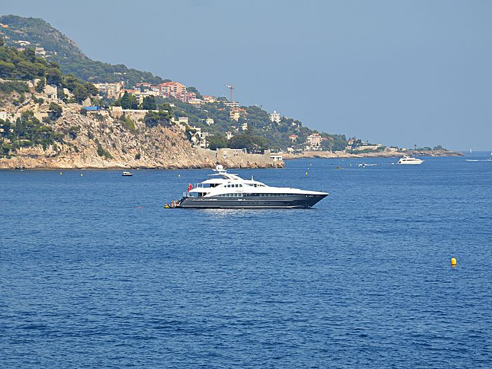 Lady L yacht anchored off Eze-sur-Mer
