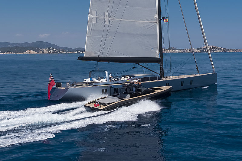 Sharlou yacht sailing with her tender