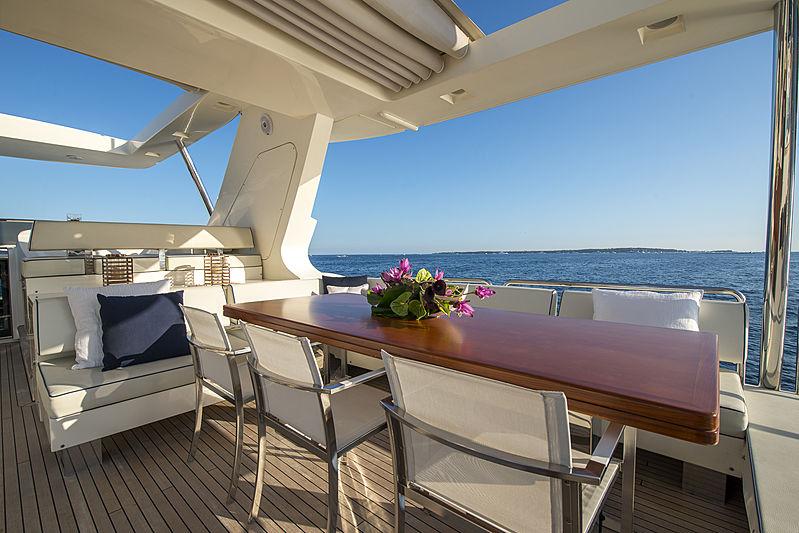 La Rubia yacht sundeck
