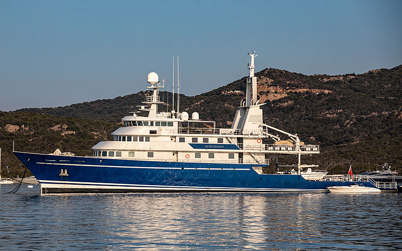Blue Shadow yacht anchored of Cala di Volpe