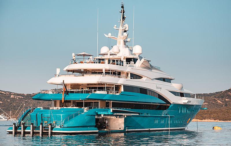 Sunrays yacht at anchor off Porto cervo