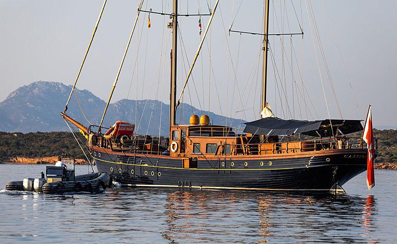 Cassiopeia yacht at anchor off Porto cervo