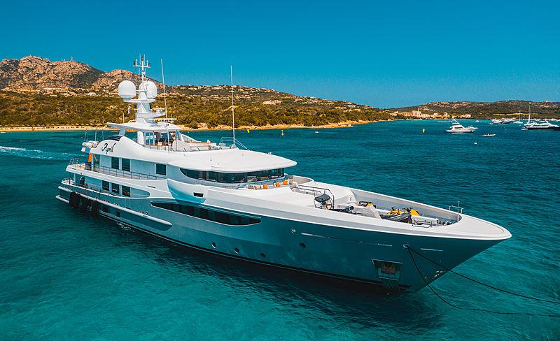 April yacht at anchor of Cala di Volpe