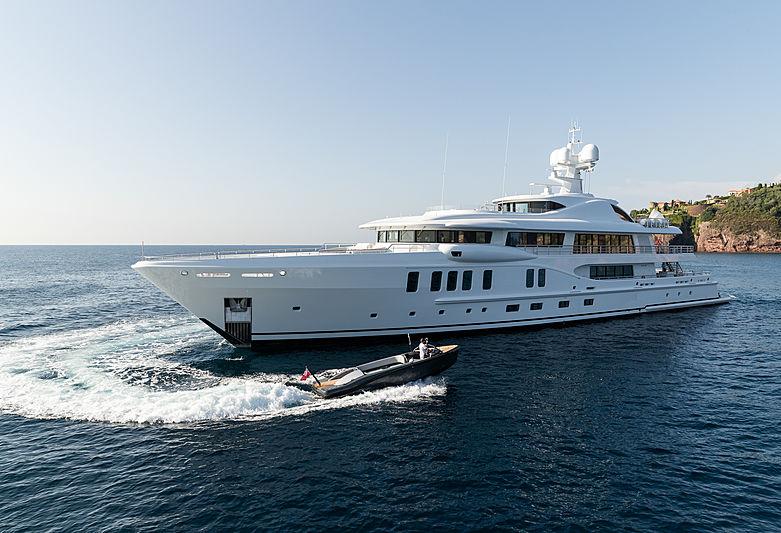 Aurora Borealis yacht anchored with tender