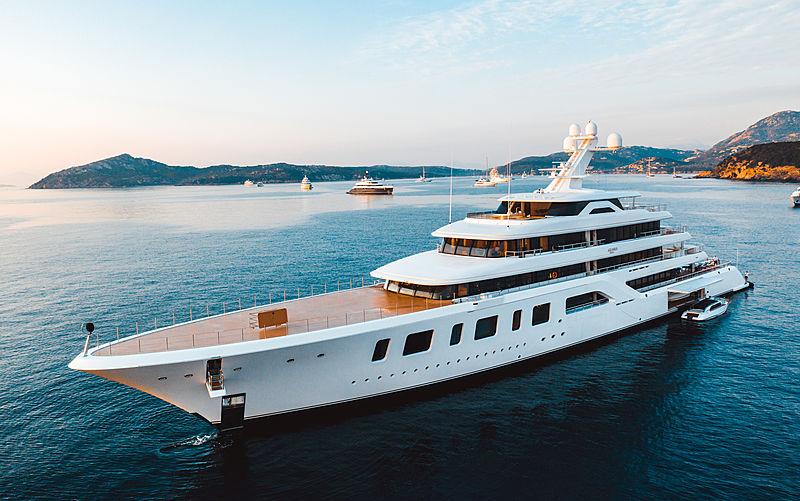 Aquarius yacht at anchor off Porto Cervo