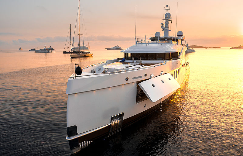 Madame Kate yacht at anchor off Porto Cervo