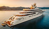 Dilbar yacht at anchor off Porto Cervo