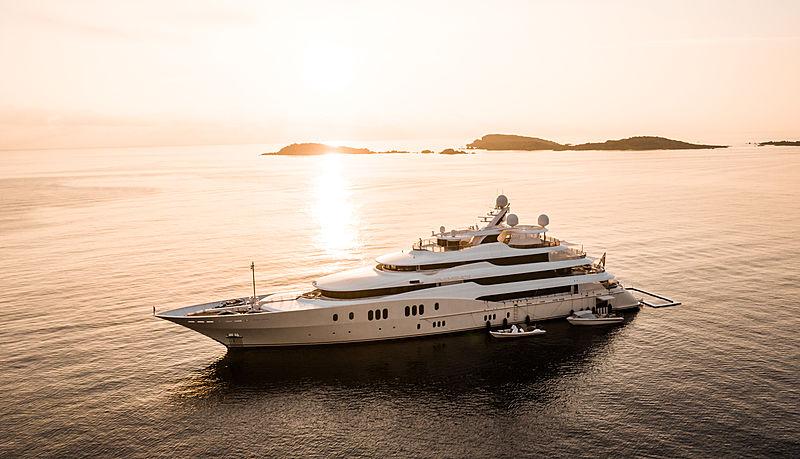 Eminence yacht at anchor off Porto Cervo