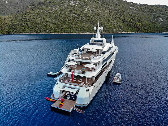 Irimari yacht anchored stern aerial