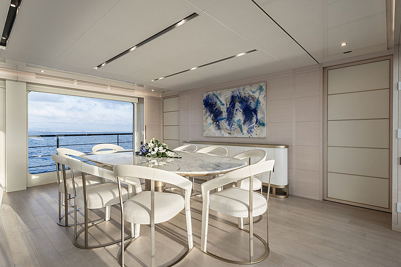 Taboo of the Seas yacht dining table