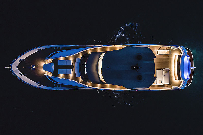 Taboo of the Seas yacht aerial at night