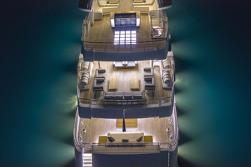 Queen Anne yacht aft decks at night