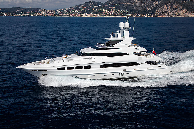 Manifiq yacht cruising aerial