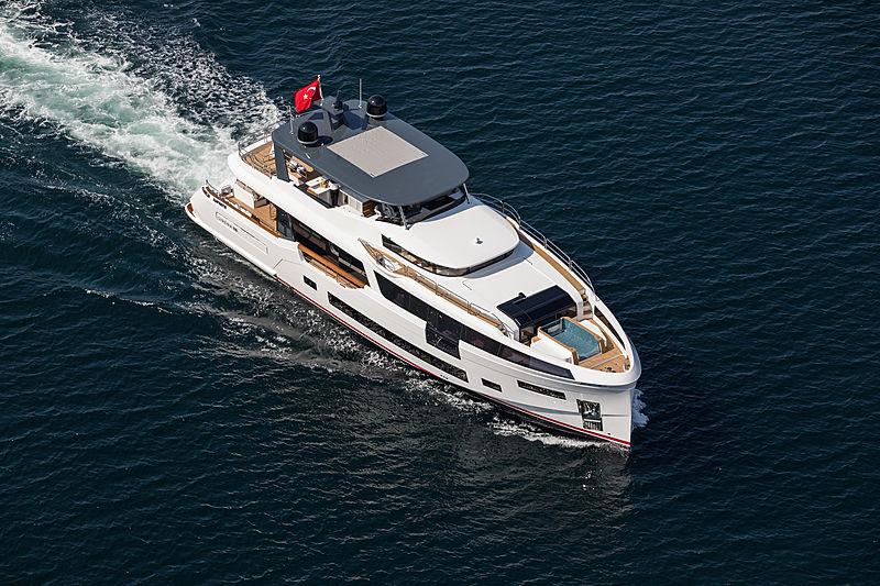 Sirena 88 RPH yacht cruising aerial