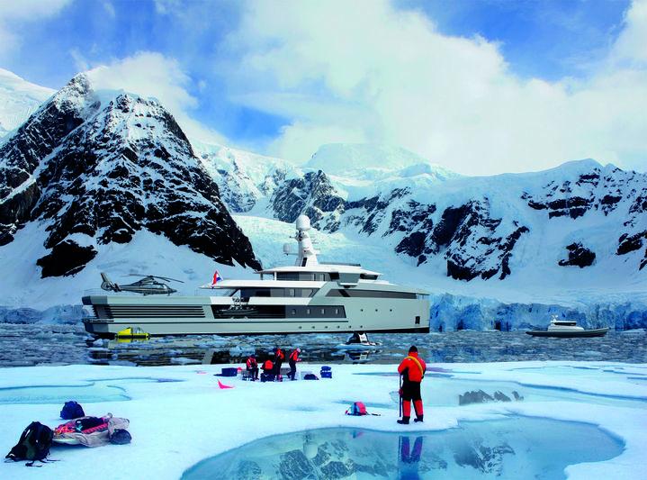 Damen SeaXplorer 65m rendering in Antartica