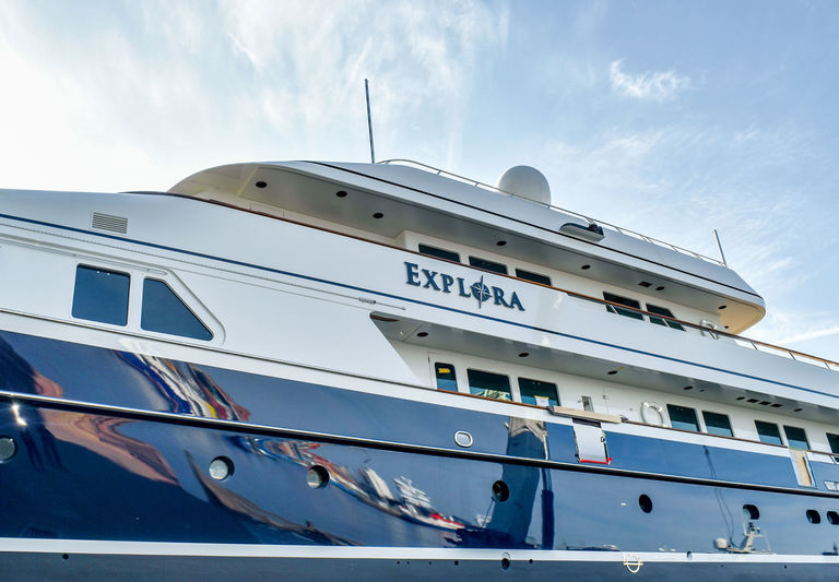 Explora during refit in Urk