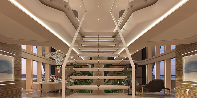 80m yacht Phathom-1 design concept interior