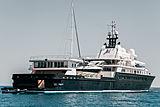 Le Grand Bleu yacht at anchor off Antibes