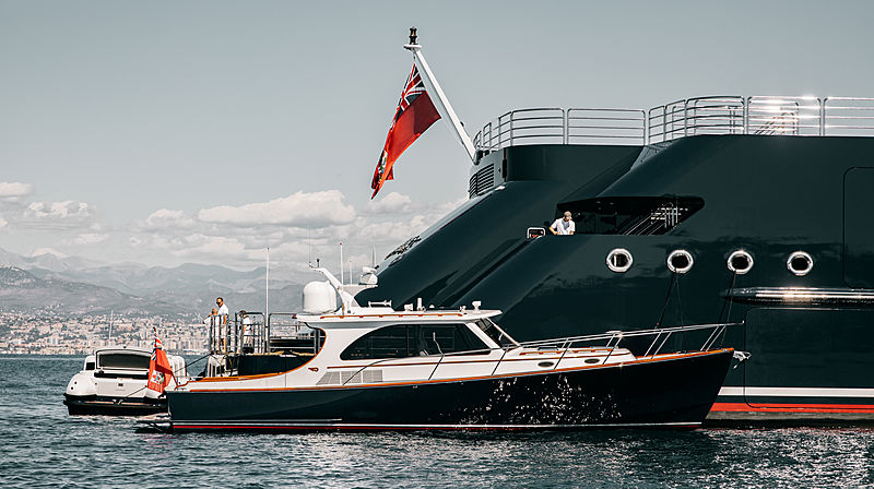 Octopus yacht with her tender at anchor off Antibes