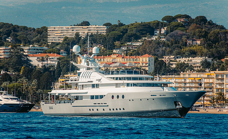 Lady A yacht at anchor off Cannes
