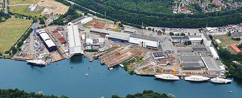 Nobiskrug shipyard facility in Rensdsburg