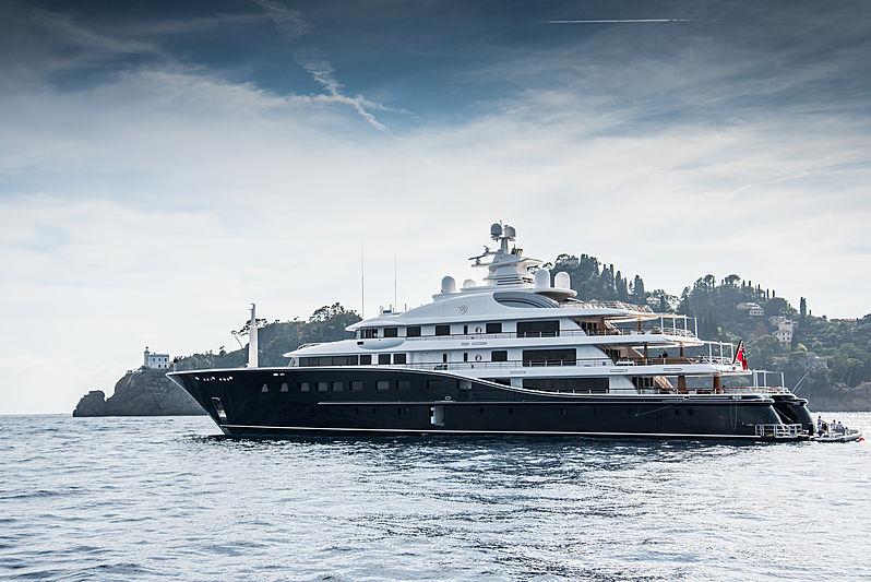 Aquila yacht anchored in Portofino, Italy