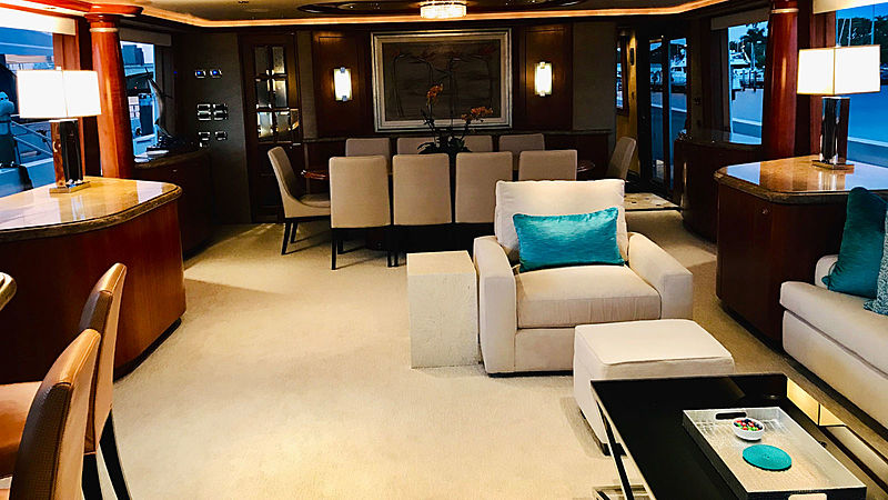 Relentless yacht saloon