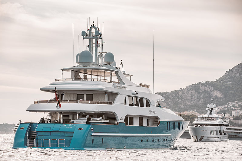 Dr No No yacht arriving at Monaco Yacht Show 2019